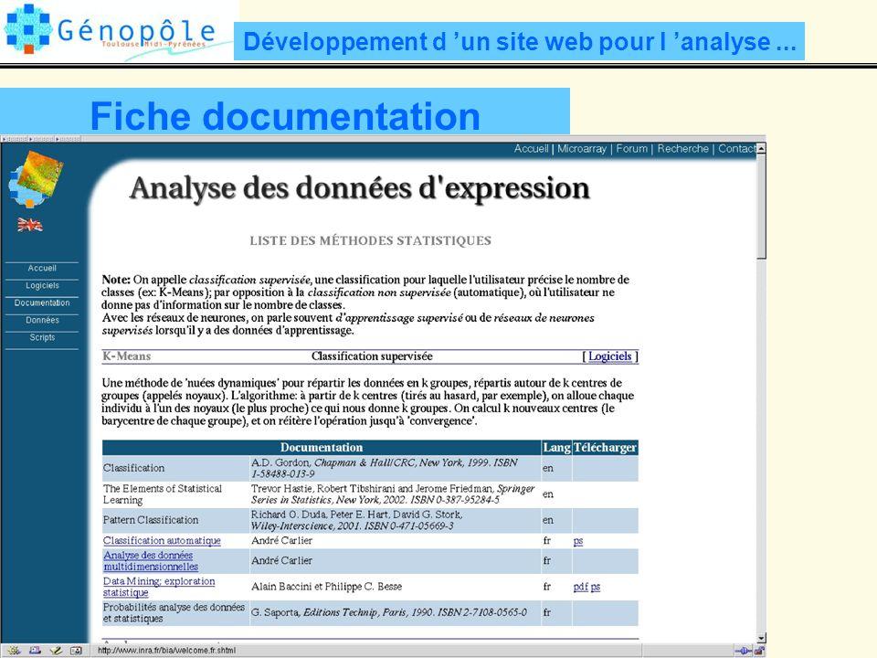 Développement d un site web pour l analyse... Fiche documentation