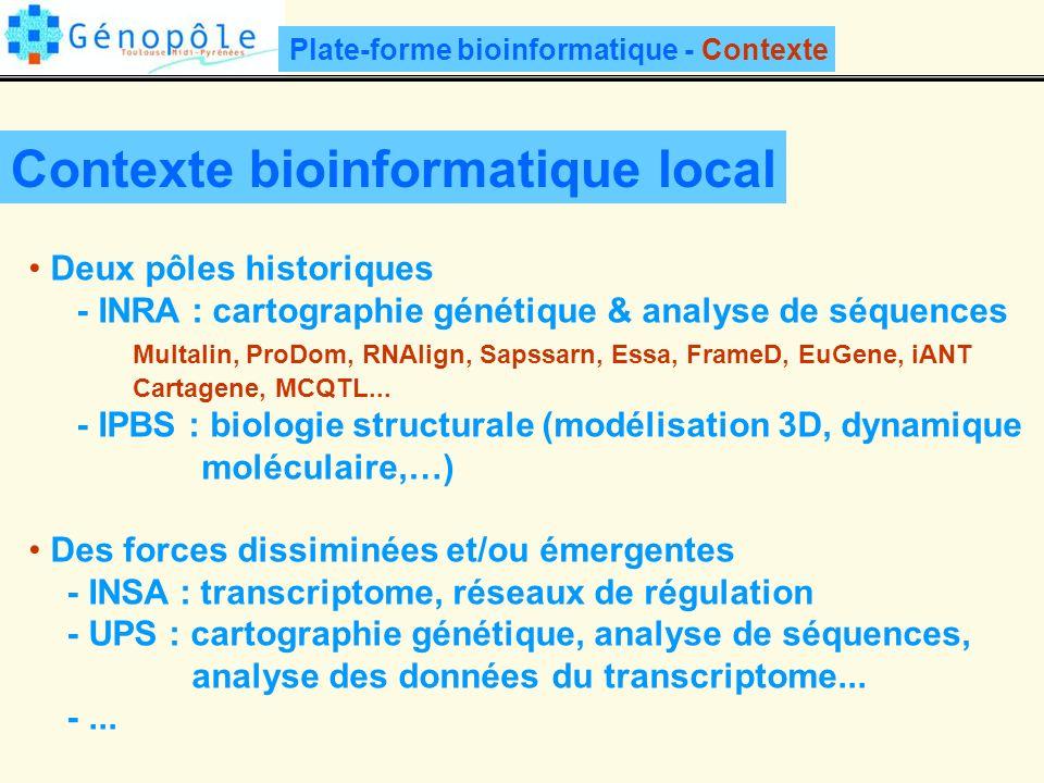 Contexte bioinformatique local Deux pôles historiques - INRA : cartographie génétique & analyse de séquences Multalin, ProDom, RNAlign, Sapssarn, Essa, FrameD, EuGene, iANT Cartagene, MCQTL...