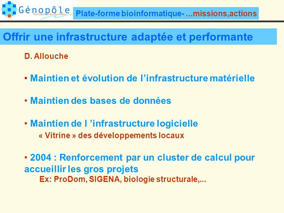 Plate-forme bioinformatique-...missions,actions Offrir une infrastructure adaptée et performante D.