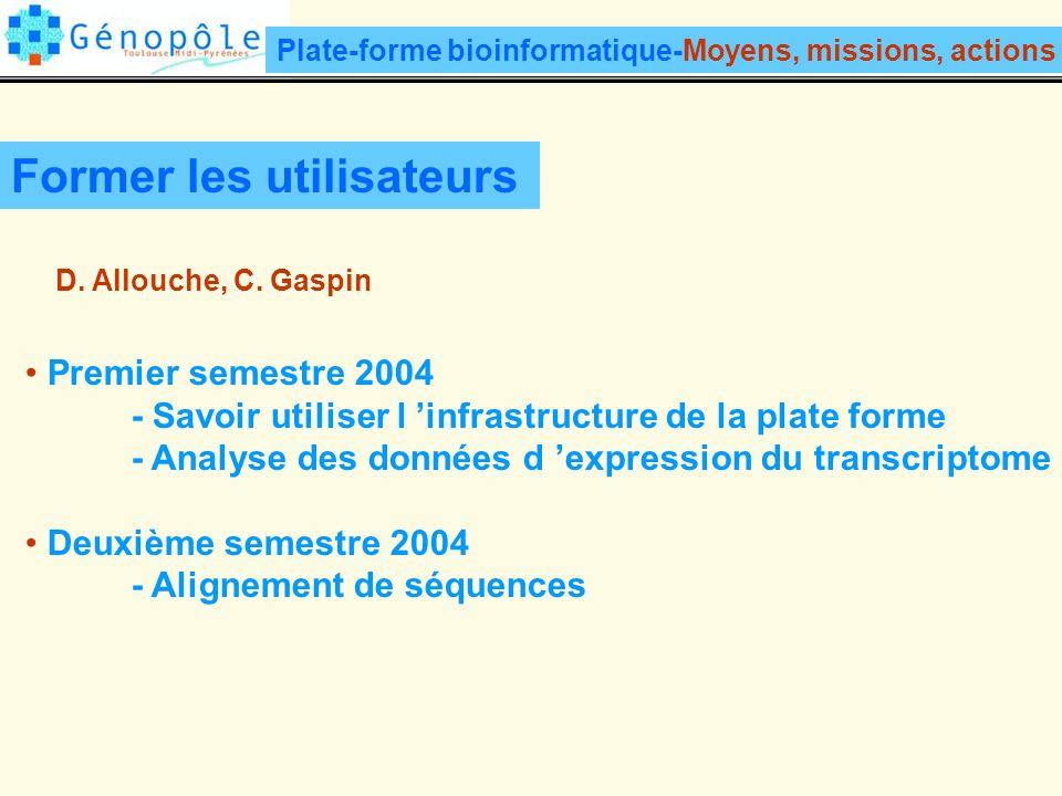 Former les utilisateurs Premier semestre 2004 - Savoir utiliser l infrastructure de la plate forme - Analyse des données d expression du transcriptome Deuxième semestre 2004 - Alignement de séquences D.