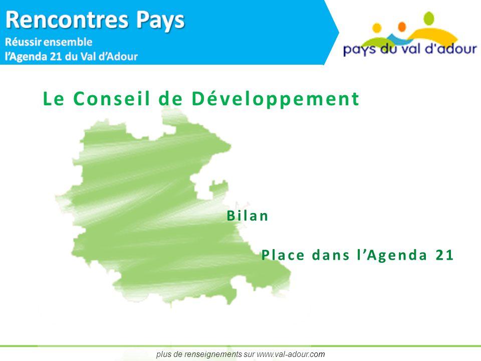 plus de renseignements sur www.val-adour.com Le Conseil de Développement Bilan Place dans lAgenda 21
