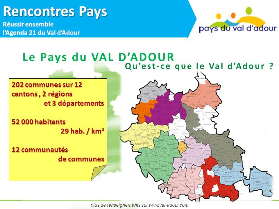 plus de renseignements sur www.val-adour.com Le Pays du VAL DADOUR 202 communes sur 12 cantons, 2 régions et 3 départements 52 000 habitants 29 hab.