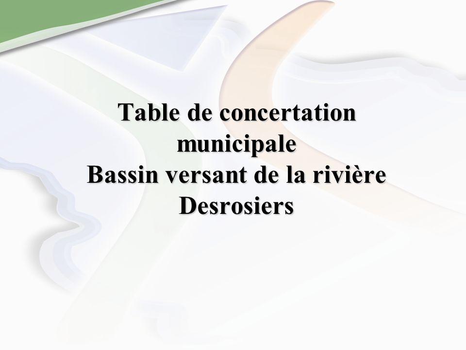 Table de concertation municipale Bassin versant de la rivière Desrosiers