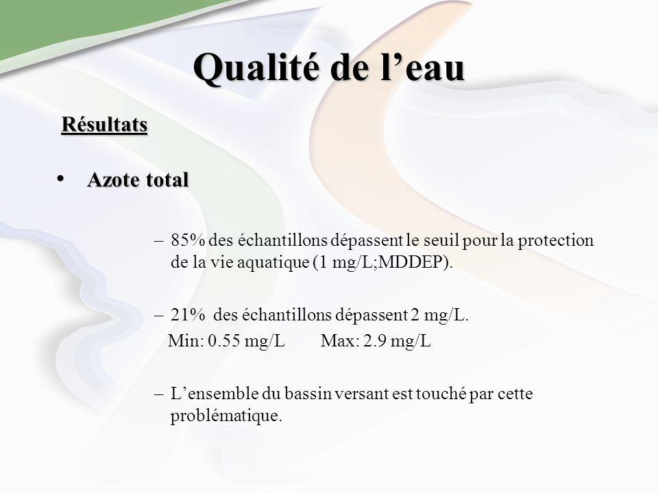 Qualité de leau Azote total –85% des échantillons dépassent le seuil pour la protection de la vie aquatique (1 mg/L;MDDEP). –21% des échantillons dépa