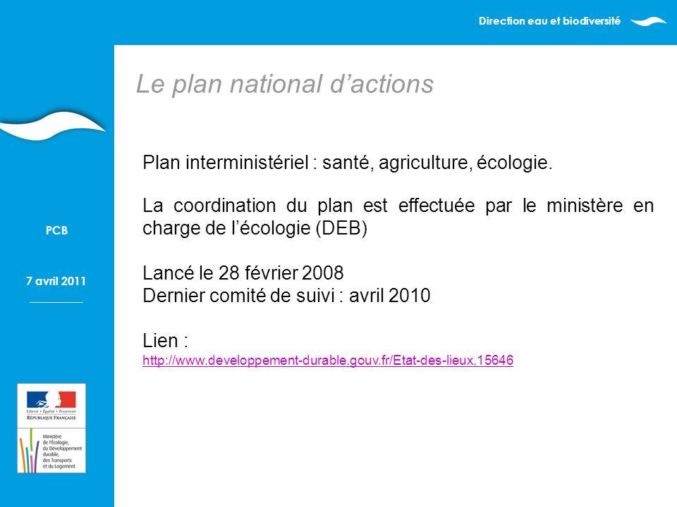 Direction eau et biodiversité 7 avril 2011 PCB Plan interministériel : santé, agriculture, écologie.