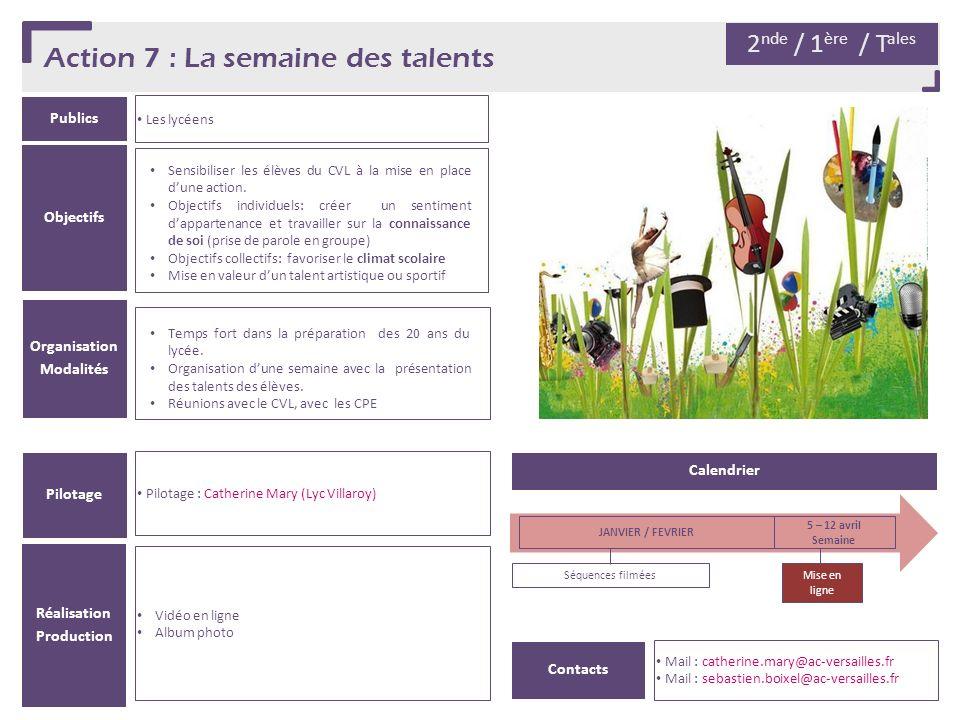 Action 7 : La semaine des talents Publics Les lycéens Organisation Modalités Pilotage Pilotage : Catherine Mary (Lyc Villaroy) Objectifs 2 nde / 1 ère