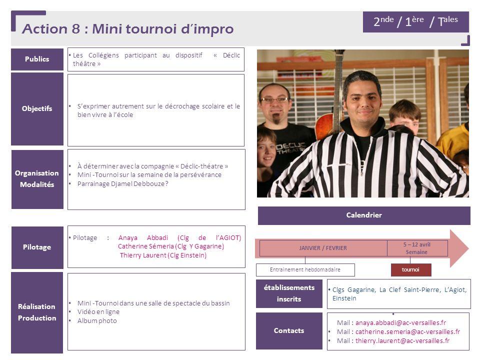Action 8 : Mini tournoi dimpro Publics Les Collégiens participant au dispositif « Déclic théâtre » Organisation Modalités À déterminer avec la compagn