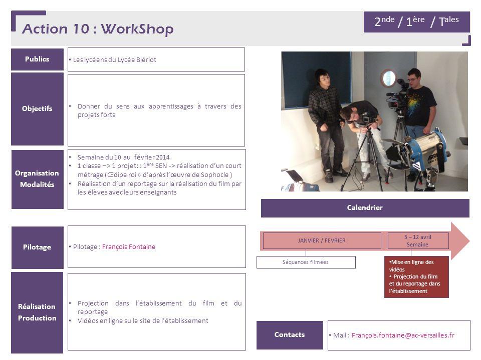 Action 10 : WorkShop Publics Les lycéens du Lycée Blériot Organisation Modalités Semaine du 10 au février 2014 1 classe –> 1 projet: : 1 ère SEN -> ré