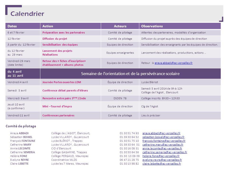 Calendrier DatesActionActeursObservations 6 et 7 févrierPréparation avec les partenairesComité de pilotageAttentes des partenaires, modalités dorganis