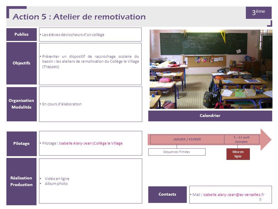 Action 5 : Atelier de remotivation Publics Les élèves décrocheurs dun collège Organisation Modalités En cours délaboration Pilotage Pilotage : Isabell