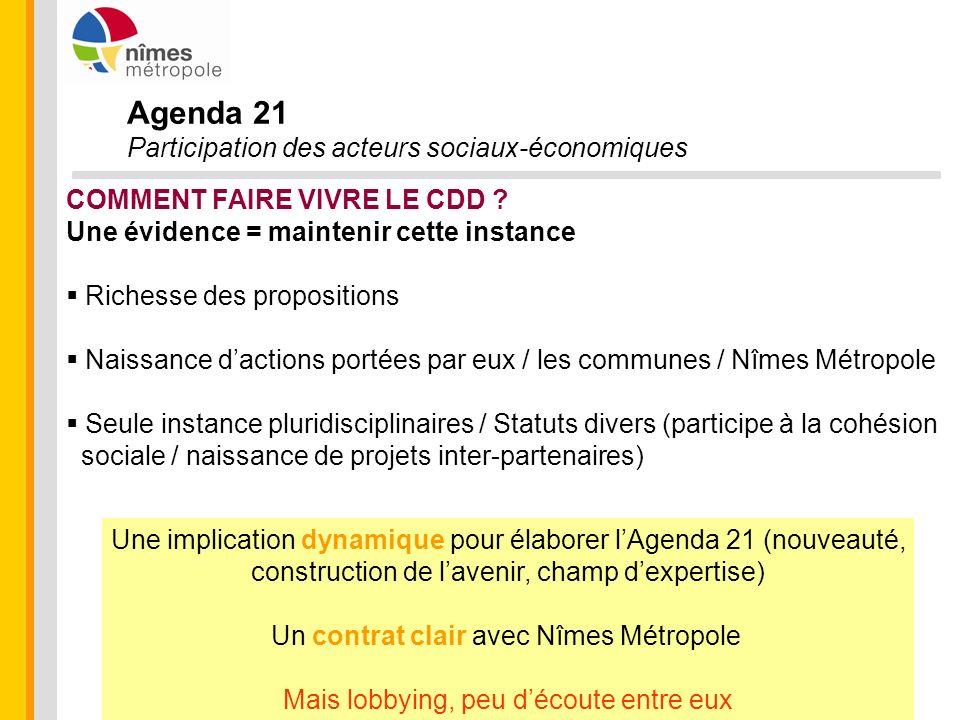Agenda 21 Participation des acteurs sociaux-économiques COMMENT FAIRE VIVRE LE CDD ? Une évidence = maintenir cette instance Richesse des propositions