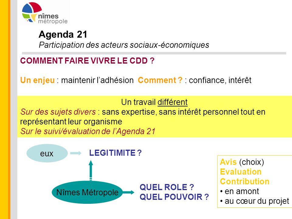 Agenda 21 Participation des acteurs sociaux-économiques COMMENT FAIRE VIVRE LE CDD ? Un enjeu : maintenir ladhésion Comment ? : confiance, intérêt Un