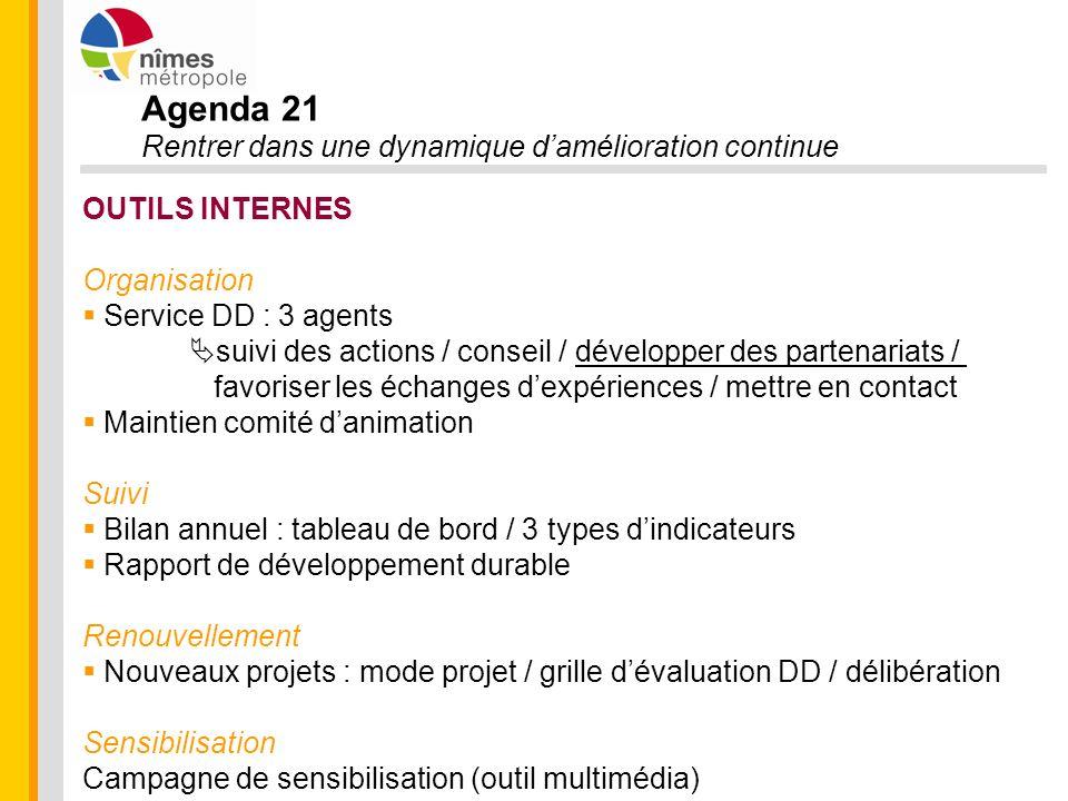 Agenda 21 Rentrer dans une dynamique damélioration continue OUTILS INTERNES Organisation Service DD : 3 agents suivi des actions / conseil / développe