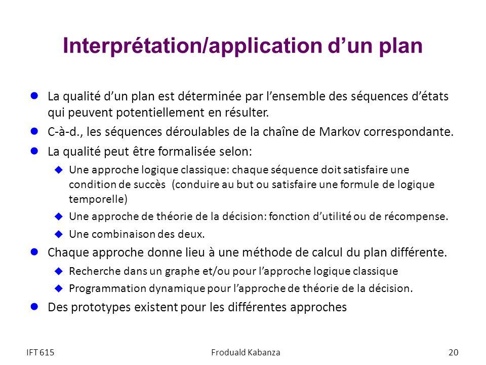 Interprétation/application dun plan La qualité dun plan est déterminée par lensemble des séquences détats qui peuvent potentiellement en résulter. C-à