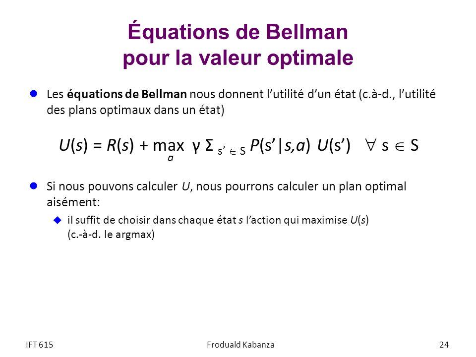 Équations de Bellman pour la valeur optimale Les équations de Bellman nous donnent lutilité dun état (c.à-d., lutilité des plans optimaux dans un état