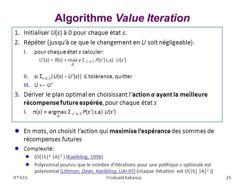 Algorithme Value Iteration 1.Initialiser U(s) à 0 pour chaque état s. 2.Répéter (jusquà ce que le changement en U soit négligeable). I. pour chaque ét