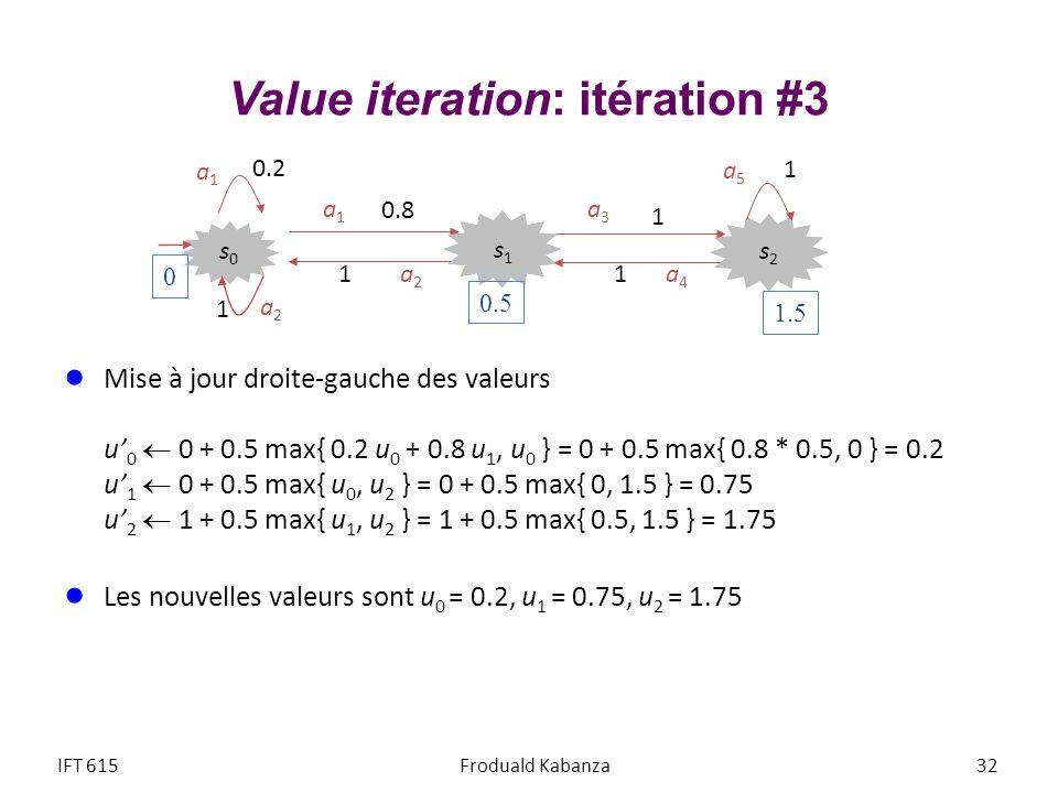 Value iteration: itération #3 Mise à jour droite-gauche des valeurs u 0 0 + 0.5 max{ 0.2 u 0 + 0.8 u 1, u 0 } = 0 + 0.5 max{ 0.8 * 0.5, 0 } = 0.2 u 1