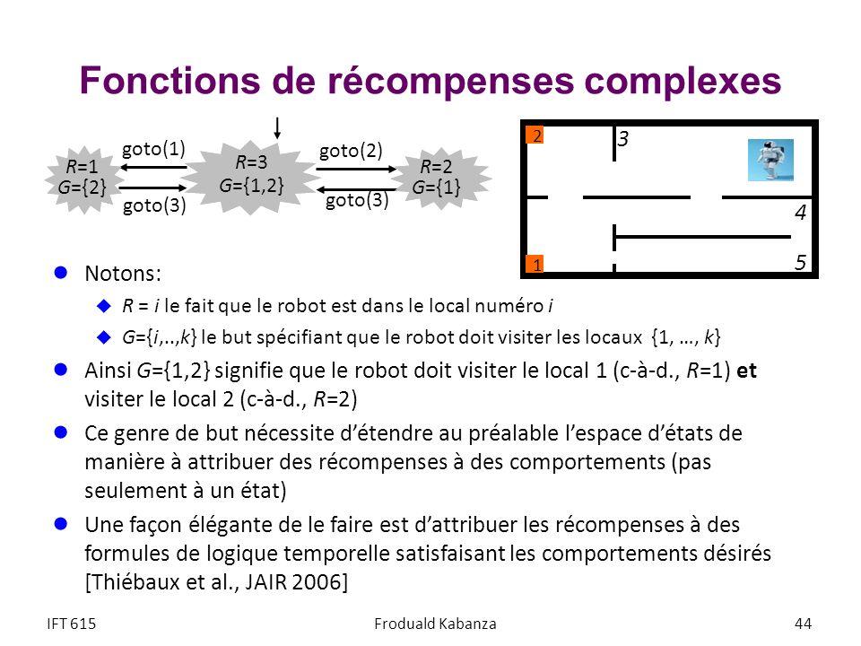 Fonctions de récompenses complexes Notons: R = i le fait que le robot est dans le local numéro i G={i,..,k} le but spécifiant que le robot doit visite