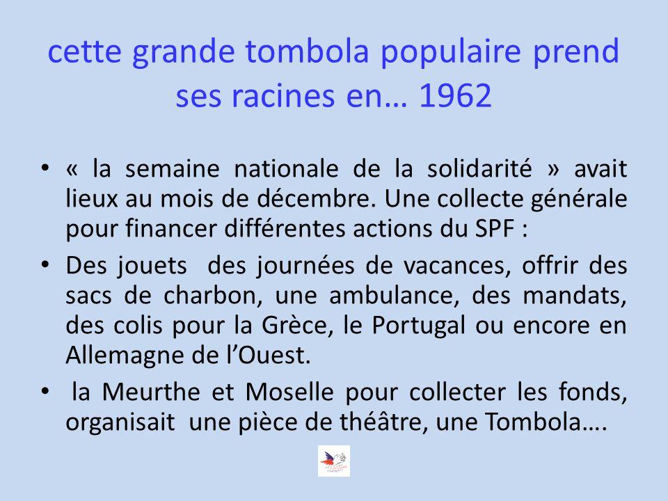 cette grande tombola populaire prend ses racines en… 1962 « la semaine nationale de la solidarité » avait lieux au mois de décembre.