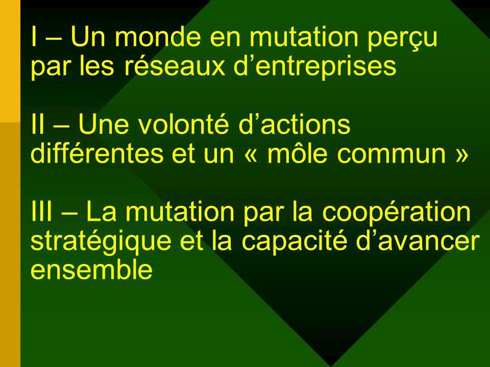 I – Un monde en mutation perçu par les réseaux dentreprises II – Une volonté dactions différentes et un « môle commun » III – La mutation par la coopération stratégique et la capacité davancer ensemble