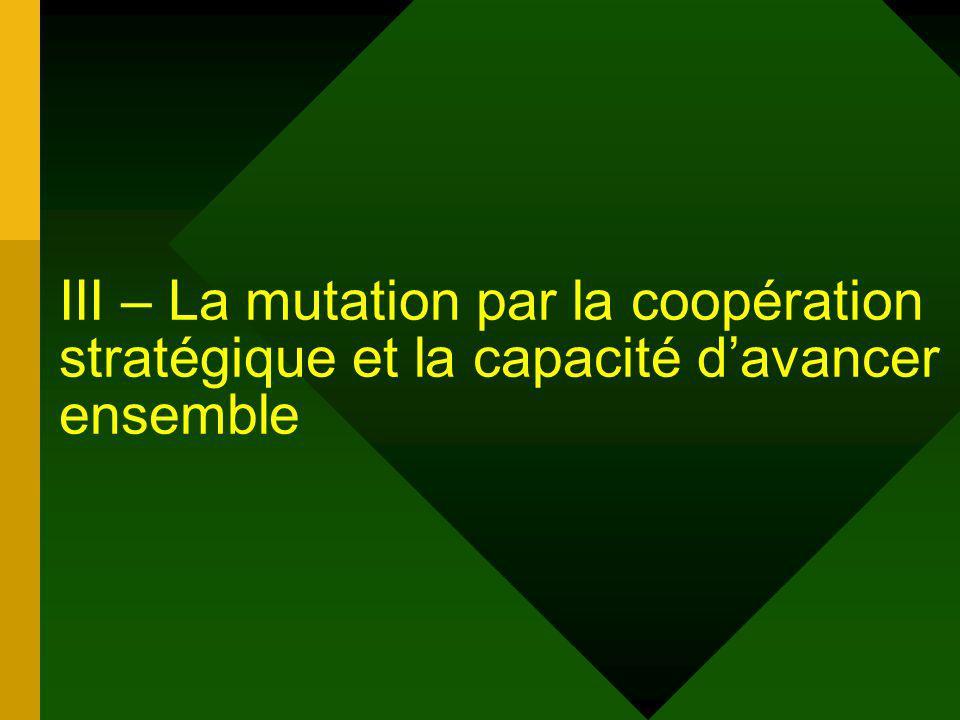 III – La mutation par la coopération stratégique et la capacité davancer ensemble