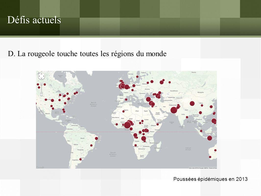 Défis actuels D. La rougeole touche toutes les régions du monde Poussées épidémiques en 2013