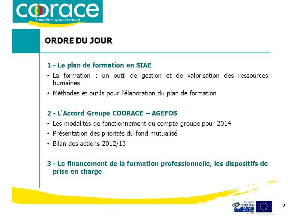 2 ORDRE DU JOUR Formation 2013 1 - Le plan de formation en SIAE La formation : un outil de gestion et de valorisation des ressources humaines Méthodes