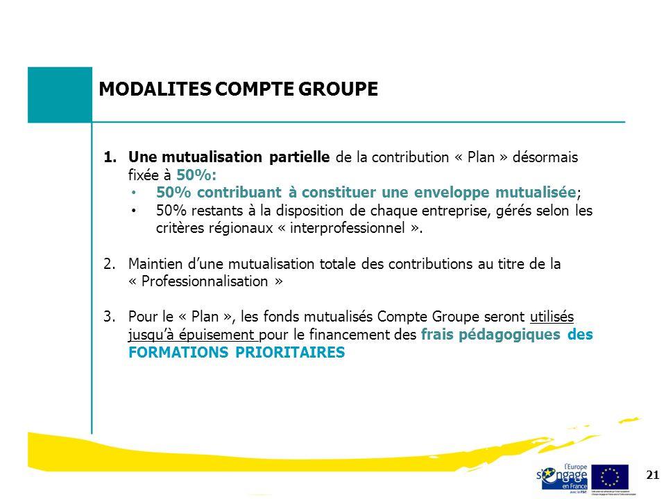 21 MODALITES COMPTE GROUPE 1.Une mutualisation partielle de la contribution « Plan » désormais fixée à 50%: 50% contribuant à constituer une enveloppe