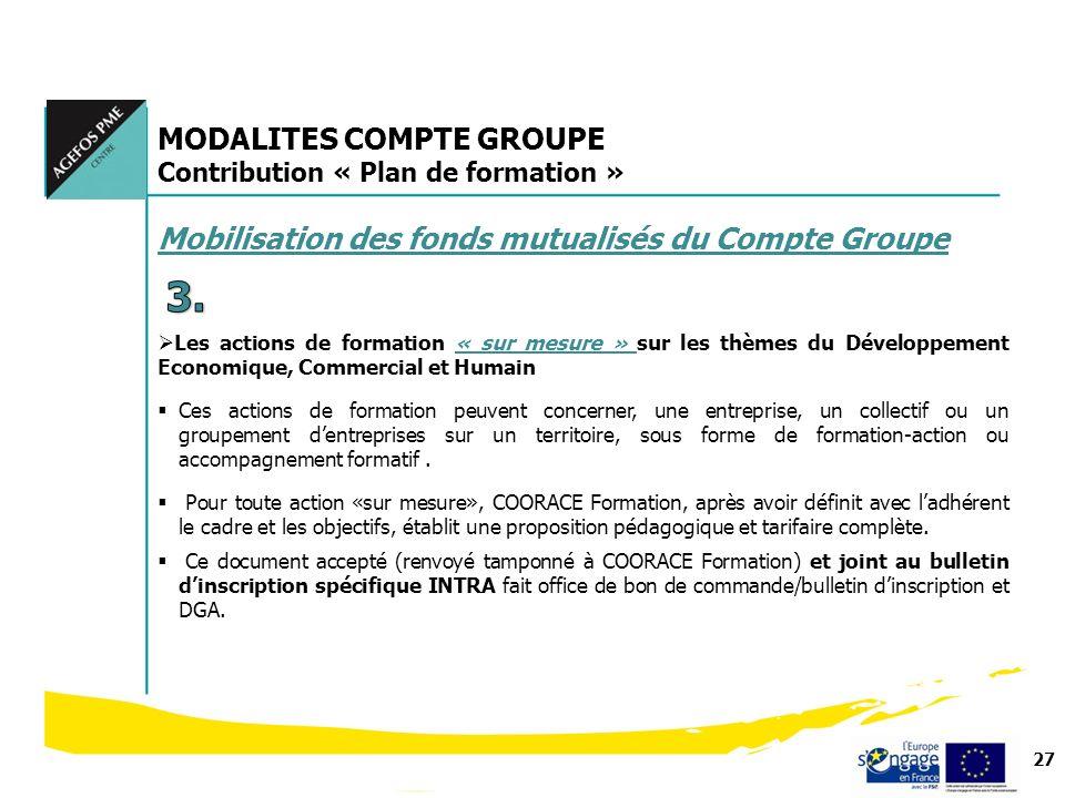 27 MODALITES COMPTE GROUPE Contribution « Plan de formation » Mobilisation des fonds mutualisés du Compte Groupe Les actions de formation « sur mesure