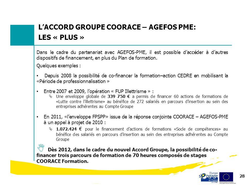 28 Dans le cadre du partenariat avec AGEFOS-PME, il est possible daccéder à dautres dispositifs de financement, en plus du Plan de formation. Quelques