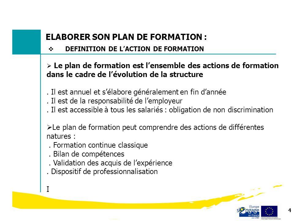 4 ELABORER SON PLAN DE FORMATION : Le plan de formation est lensemble des actions de formation dans le cadre de lévolution de la structure. Il est ann