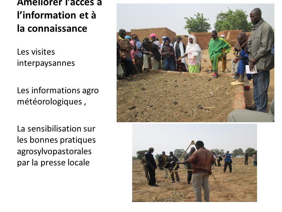 Améliorer laccès à linformation et à la connaissance Les visites interpaysannes Les informations agro météorologiques, La sensibilisation sur les bonn