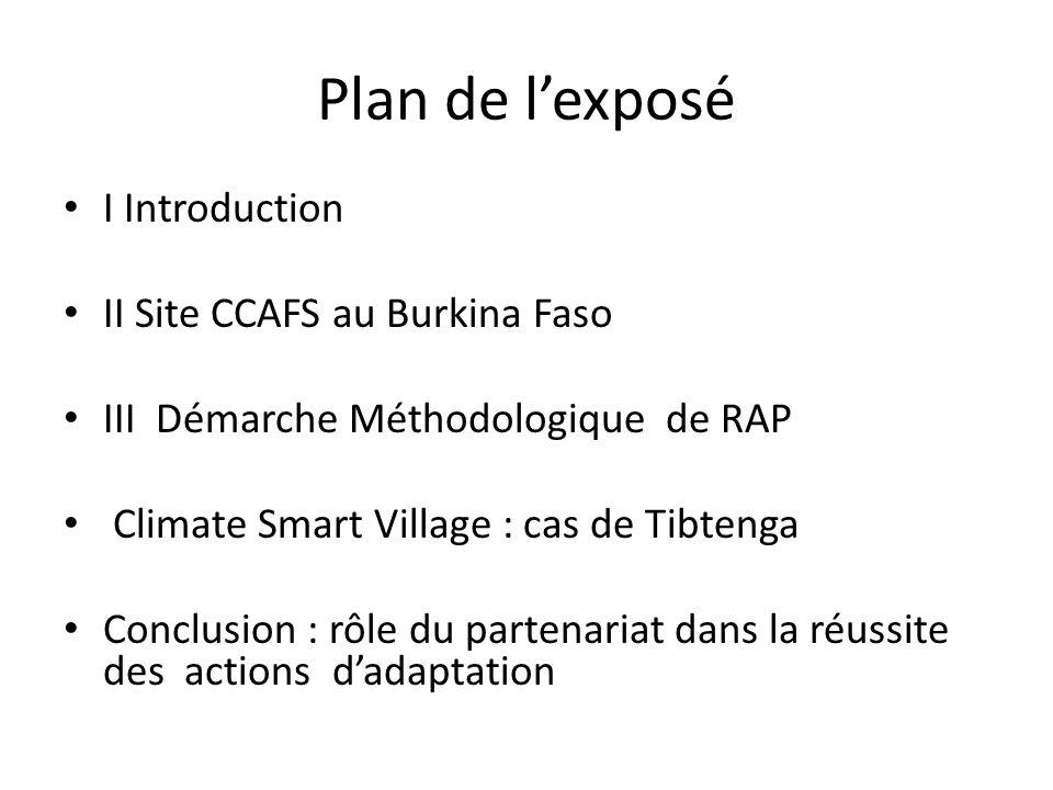 Plan de lexposé I Introduction II Site CCAFS au Burkina Faso III Démarche Méthodologique de RAP Climate Smart Village : cas de Tibtenga Conclusion : r