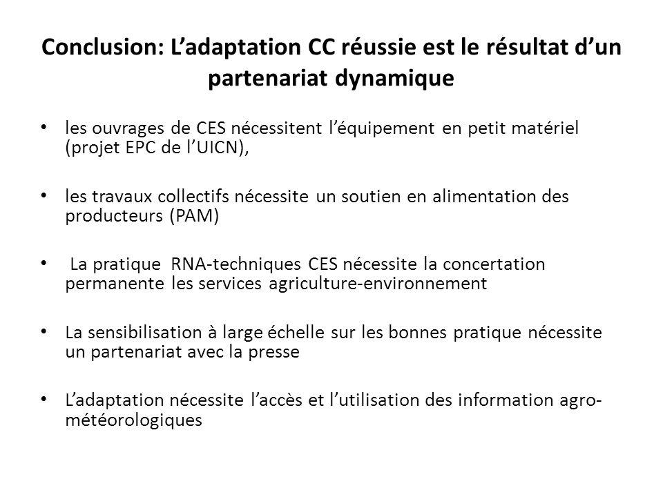 Conclusion: Ladaptation CC réussie est le résultat dun partenariat dynamique les ouvrages de CES nécessitent léquipement en petit matériel (projet EPC