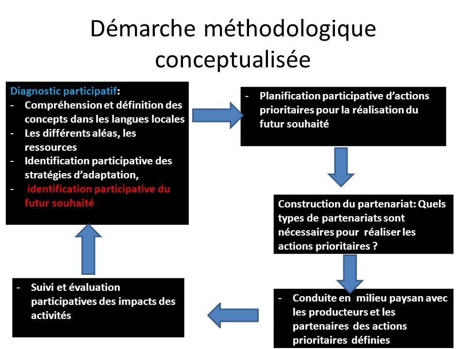 Démarche méthodologique conceptualisée Diagnostic participatif: -Compréhension et définition des concepts dans les langues locales -Les différents alé