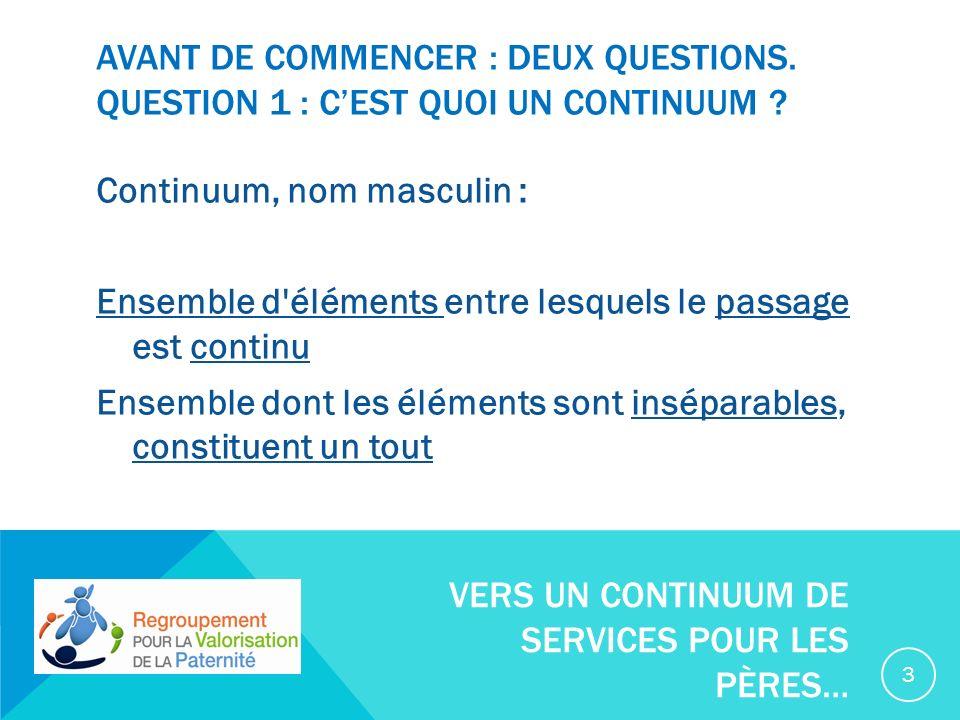AVANT DE COMMENCER : DEUX QUESTIONS. QUESTION 1 : CEST QUOI UN CONTINUUM .