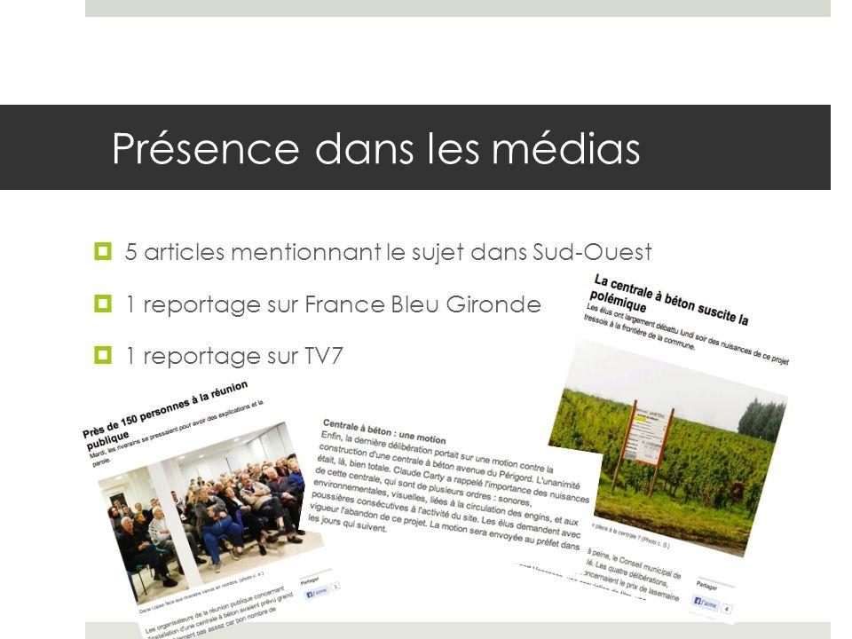 Présence dans les médias 5 articles mentionnant le sujet dans Sud-Ouest 1 reportage sur France Bleu Gironde 1 reportage sur TV7