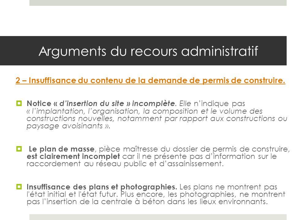 Arguments du recours administratif 2 – Insuffisance du contenu de la demande de permis de construire.