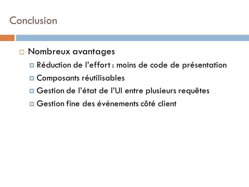 Nombreux avantages Réduction de leffort : moins de code de présentation Composants réutilisables Gestion de létat de lUI entre plusieurs requêtes Gestion fine des événements côté client Conclusion