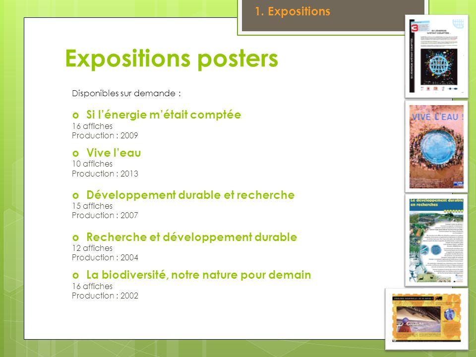 Expositions posters Disponibles sur demande : Si lénergie métait comptée 16 affiches Production : 2009 Vive leau 10 affiches Production : 2013 Dévelop
