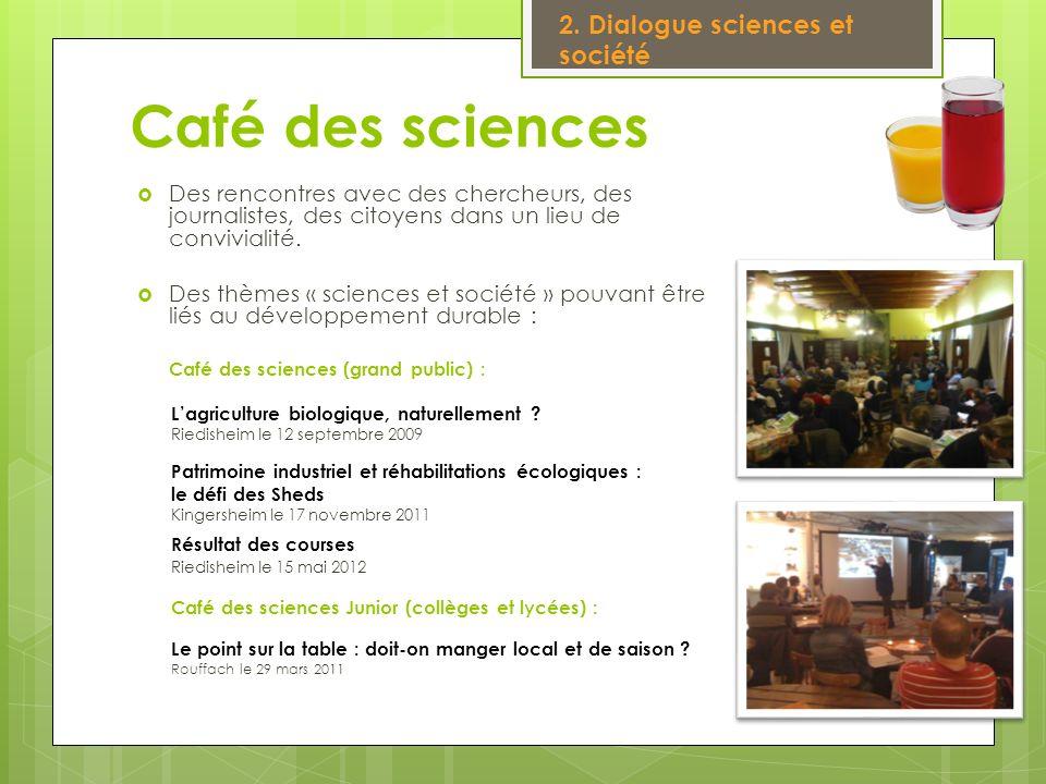 Café des sciences Des rencontres avec des chercheurs, des journalistes, des citoyens dans un lieu de convivialité. Des thèmes « sciences et société »