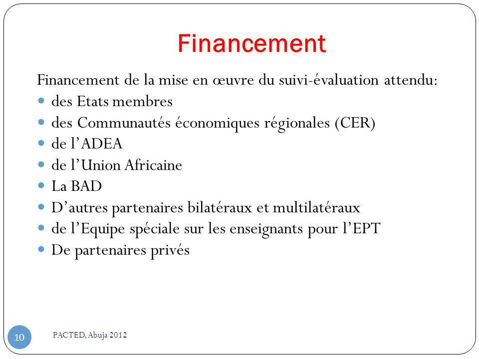 Financement PACTED, Abuja 2012 10 Financement de la mise en œuvre du suivi-évaluation attendu: des Etats membres des Communautés économiques régionale