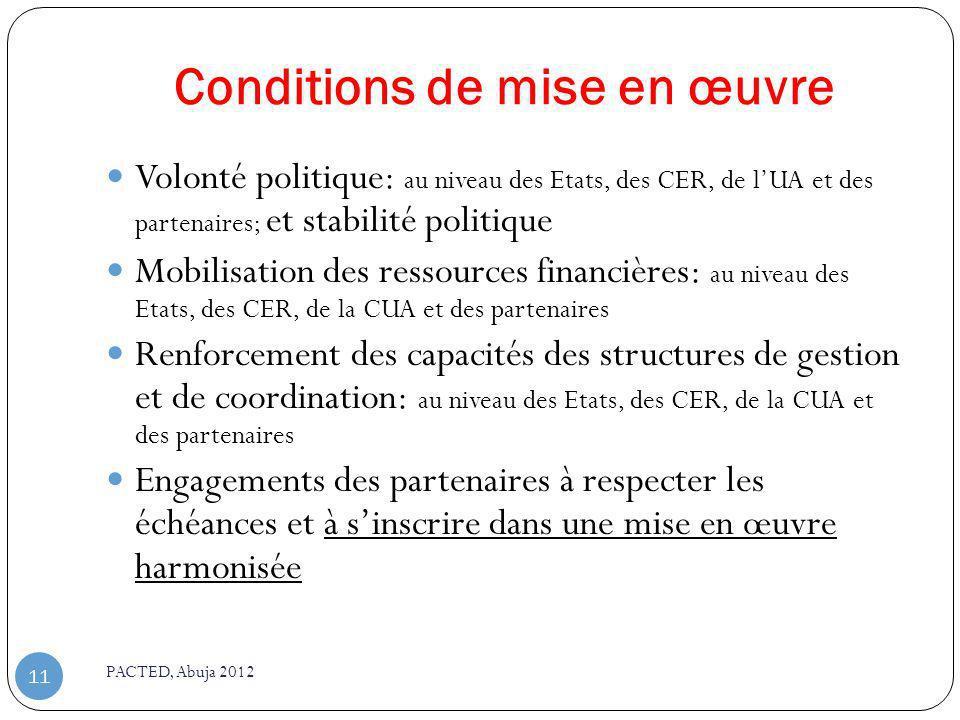 Conditions de mise en œuvre PACTED, Abuja 2012 11 Volonté politique: au niveau des Etats, des CER, de lUA et des partenaires; et stabilité politique M