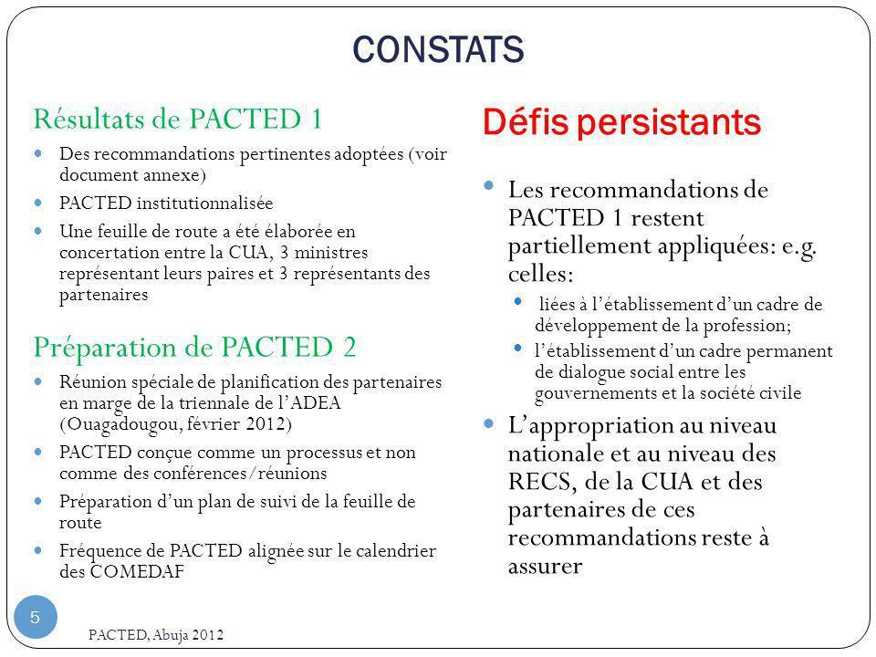 CONSTATS PACTED, Abuja 2012 5 Résultats de PACTED 1 Des recommandations pertinentes adoptées (voir document annexe) PACTED institutionnalisée Une feuille de route a été élaborée en concertation entre la CUA, 3 ministres représentant leurs paires et 3 représentants des partenaires Préparation de PACTED 2 Réunion spéciale de planification des partenaires en marge de la triennale de lADEA (Ouagadougou, février 2012) PACTED conçue comme un processus et non comme des conférences/réunions Préparation dun plan de suivi de la feuille de route Fréquence de PACTED alignée sur le calendrier des COMEDAF Défis persistants Les recommandations de PACTED 1 restent partiellement appliquées: e.g.