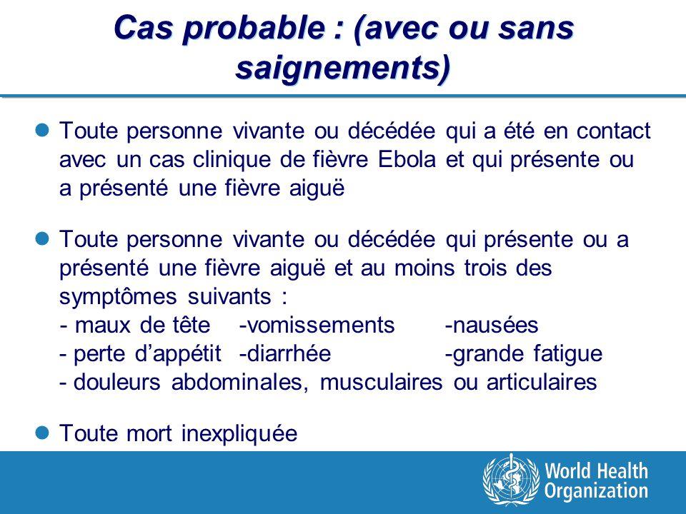 Cas probable : (avec ou sans saignements) Toute personne vivante ou décédée qui a été en contact avec un cas clinique de fièvre Ebola et qui présente ou a présenté une fièvre aiguë Toute personne vivante ou décédée qui présente ou a présenté une fièvre aiguë et au moins trois des symptômes suivants : - maux de tête-vomissements -nausées - perte dappétit-diarrhée -grande fatigue - douleurs abdominales, musculaires ou articulaires Toute mort inexpliquée