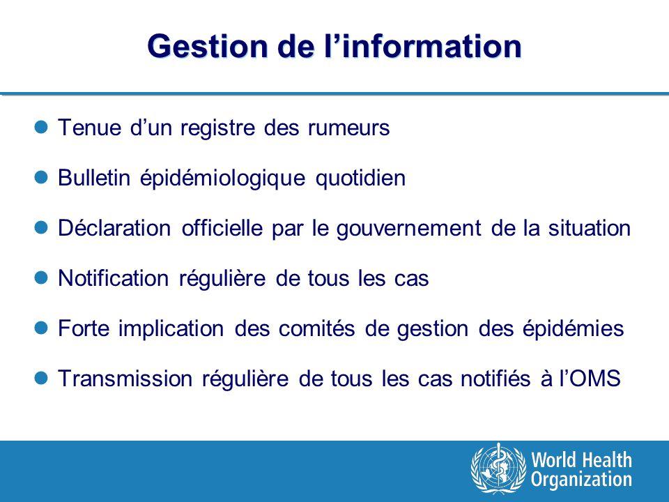Gestion de linformation Tenue dun registre des rumeurs Bulletin épidémiologique quotidien Déclaration officielle par le gouvernement de la situation N