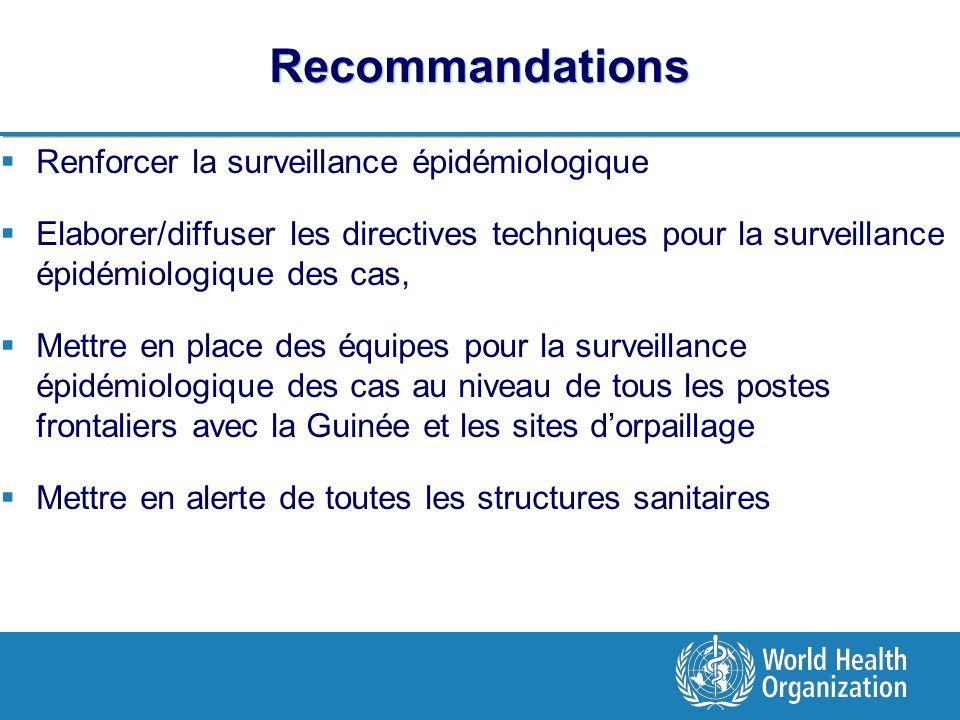 Recommandations Renforcer la surveillance épidémiologique Elaborer/diffuser les directives techniques pour la surveillance épidémiologique des cas, Mettre en place des équipes pour la surveillance épidémiologique des cas au niveau de tous les postes frontaliers avec la Guinée et les sites dorpaillage Mettre en alerte de toutes les structures sanitaires
