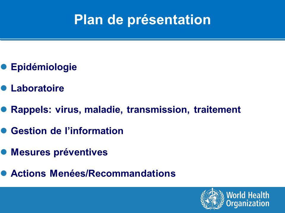 Plan de présentation Epidémiologie Laboratoire Rappels: virus, maladie, transmission, traitement Gestion de linformation Mesures préventives Actions M