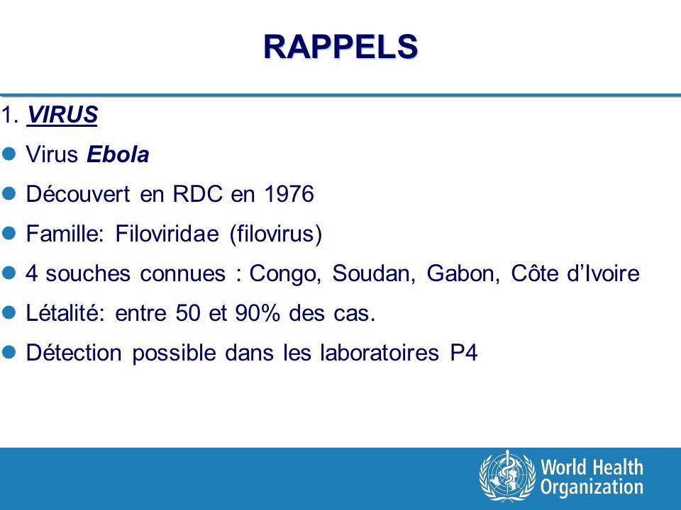 RAPPELS 1. VIRUS Virus Ebola Découvert en RDC en 1976 Famille: Filoviridae (filovirus) 4 souches connues : Congo, Soudan, Gabon, Côte dIvoire Létalité