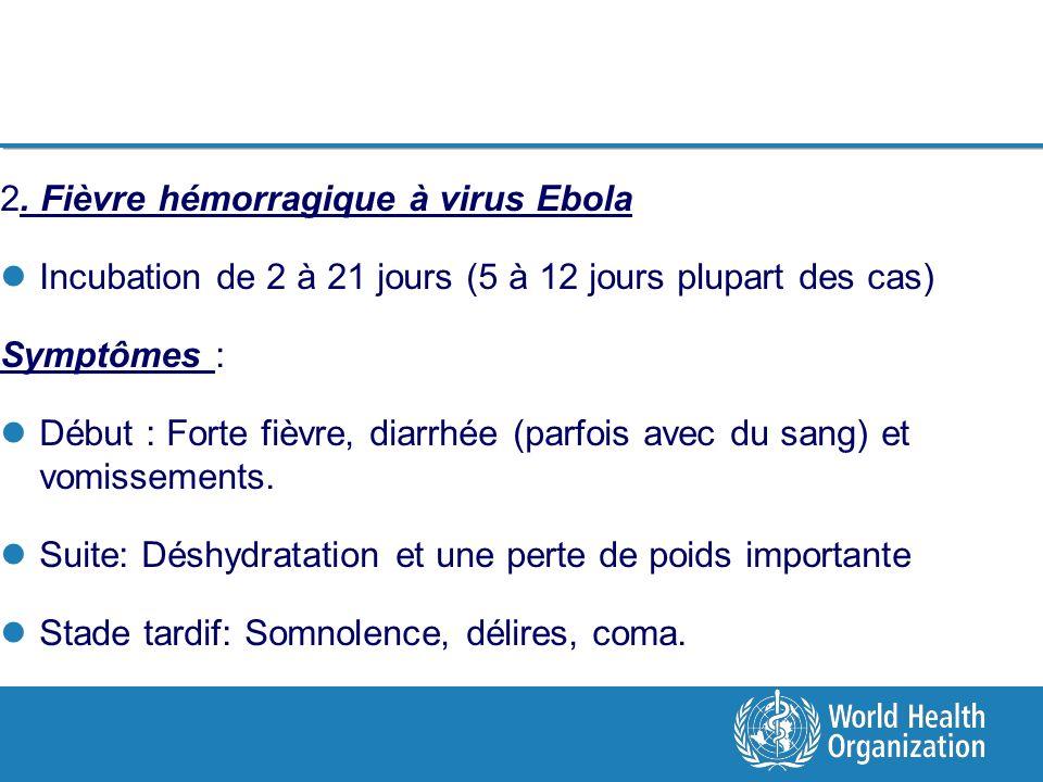 2. Fièvre hémorragique à virus Ebola Incubation de 2 à 21 jours (5 à 12 jours plupart des cas) Symptômes : Début : Forte fièvre, diarrhée (parfois ave